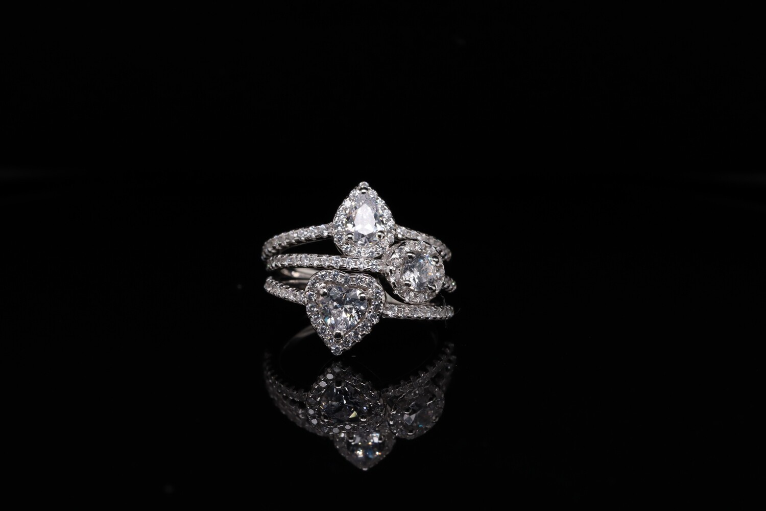 Solitaire 3 Stack Sparkling Ring
