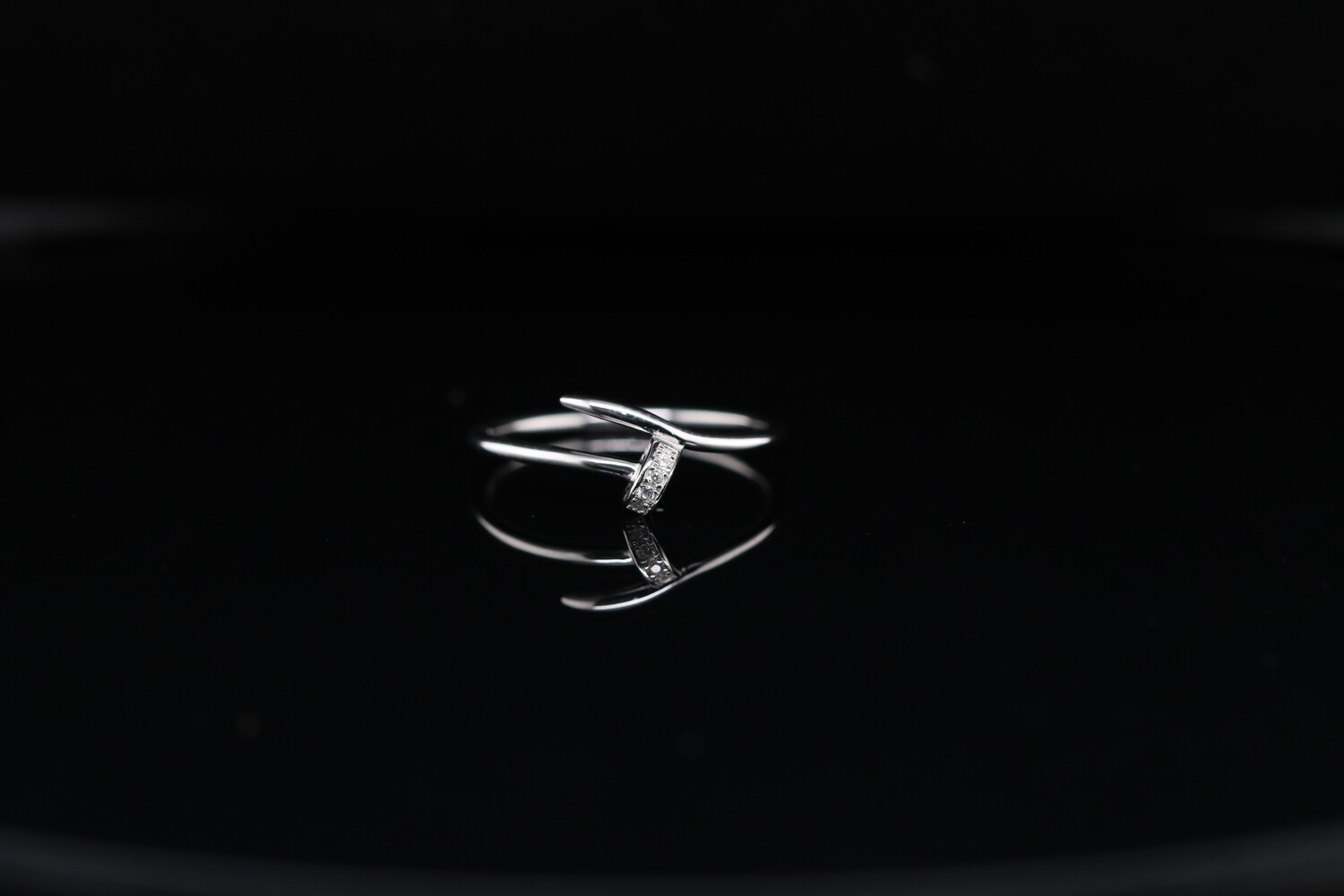 Solitaire Small Silver Charm Ring