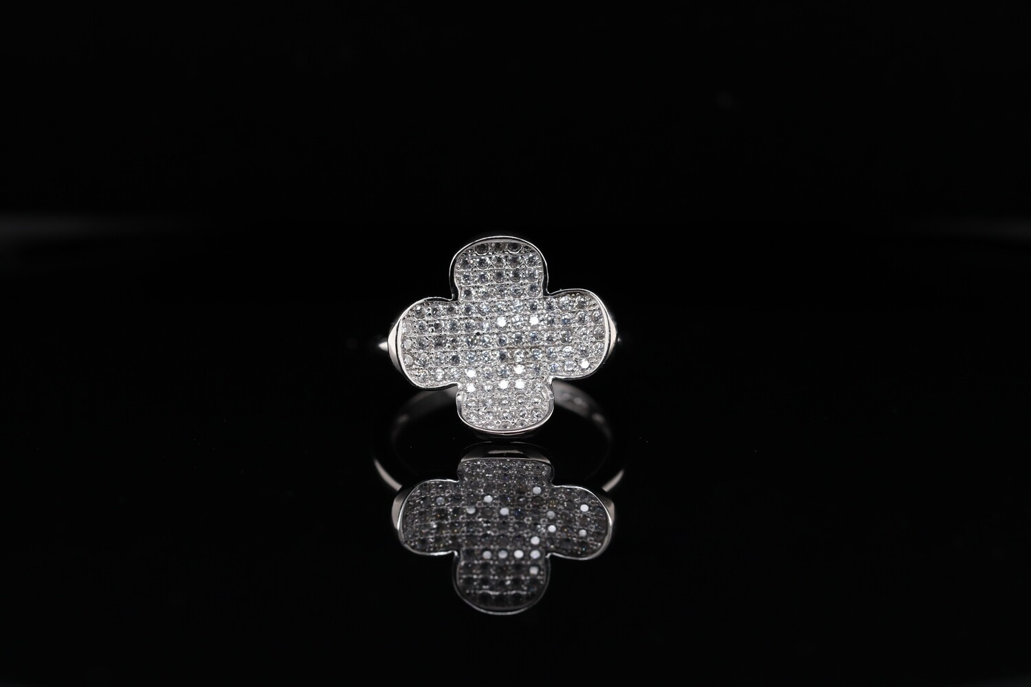 Solitaire Open Flower Charm Ring