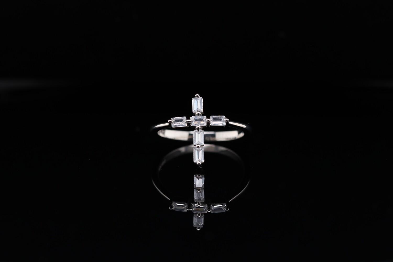 Solitaire Cross Faith Ring