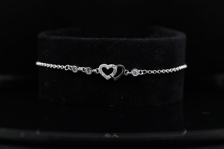Solitaire 2 Hearts Shining Bracelets