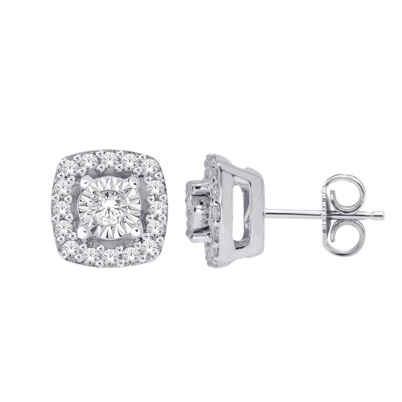 Diamond Cluster Stud Earrings - 10K White Gold