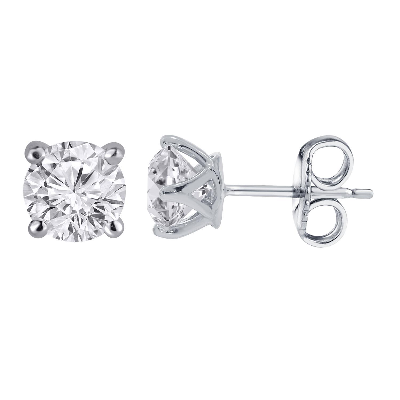 Diamond Cluster stud earrings - 14K White Gold