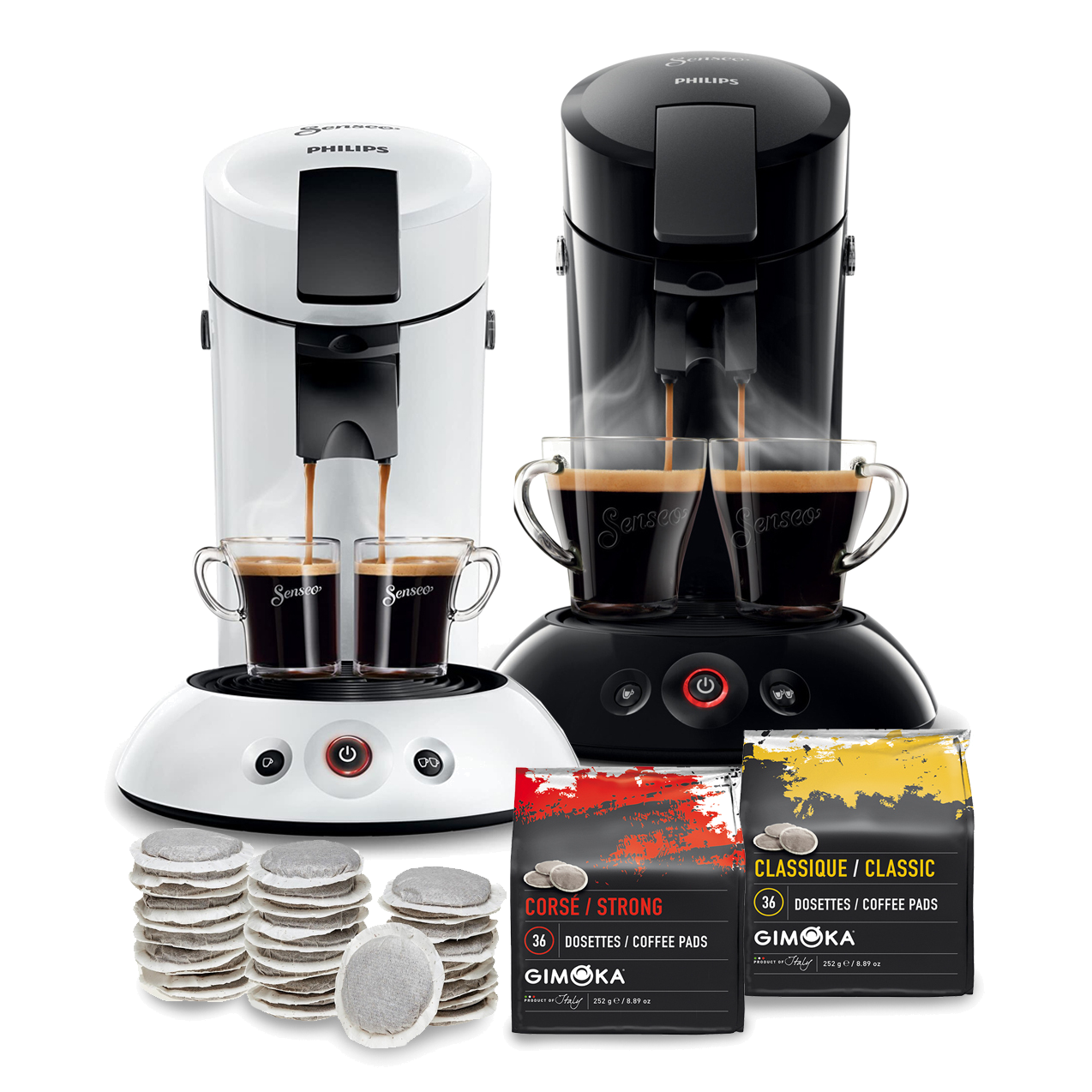 Philips Senseo® Soft Paper Pad Coffee Machine & 2x36 Coffee pads