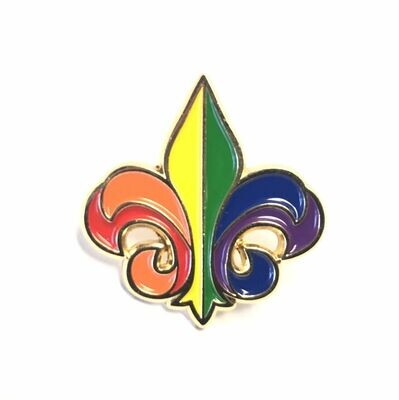 Rainbow Fleur de Lis Lapel Pin