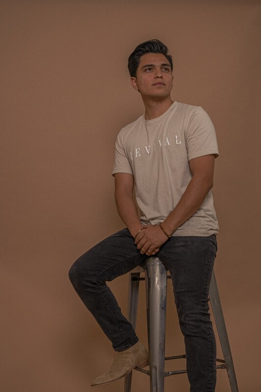 Revival Tee in Heather Dust With Logo