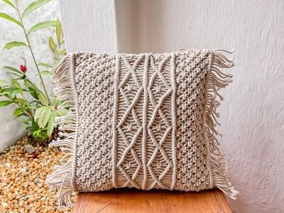 Truffle Macrame Cushion Cover