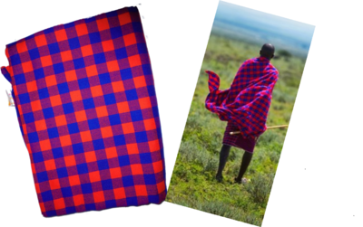 Red blue checked Masai shuka fabric
