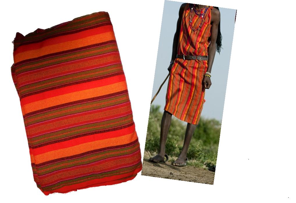 Multicolor multistriped Masai shuka fabric