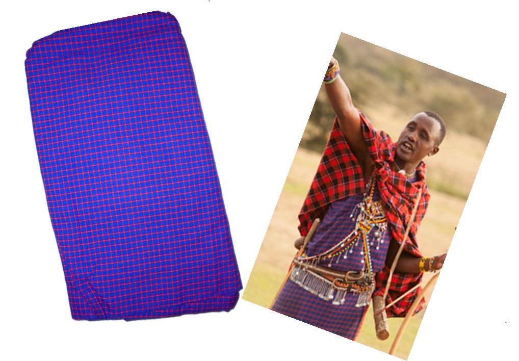 Purple checked Masai shuka fabric