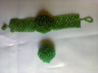 Green Masai beads watch bracelet with a beads finger ring