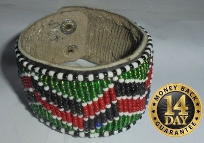 Masai leather beads bangle bracelet LBA