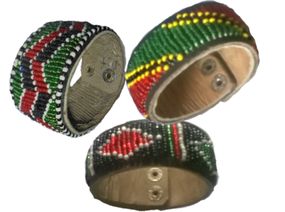 3 Masai beads leather bracelet-MBLB003
