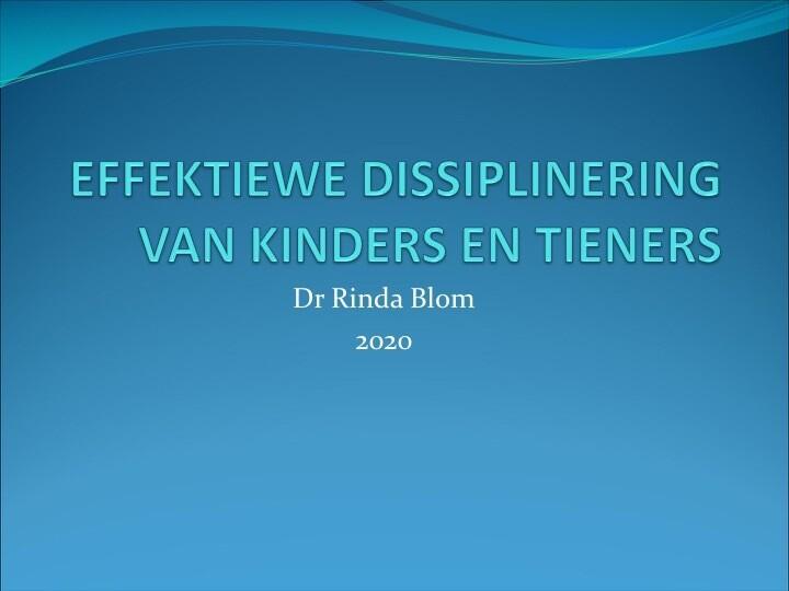 Effektiewe dissiplinering van kinders en tieners