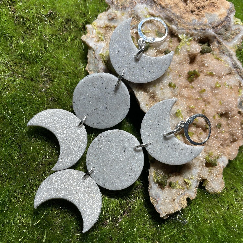 Triple Moon Goddess lightweight dangle sparkle earrings