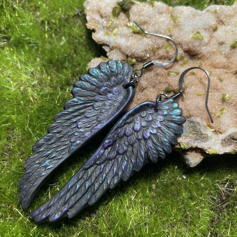 Black as Night Oil Slick raven crow angel wings earrings