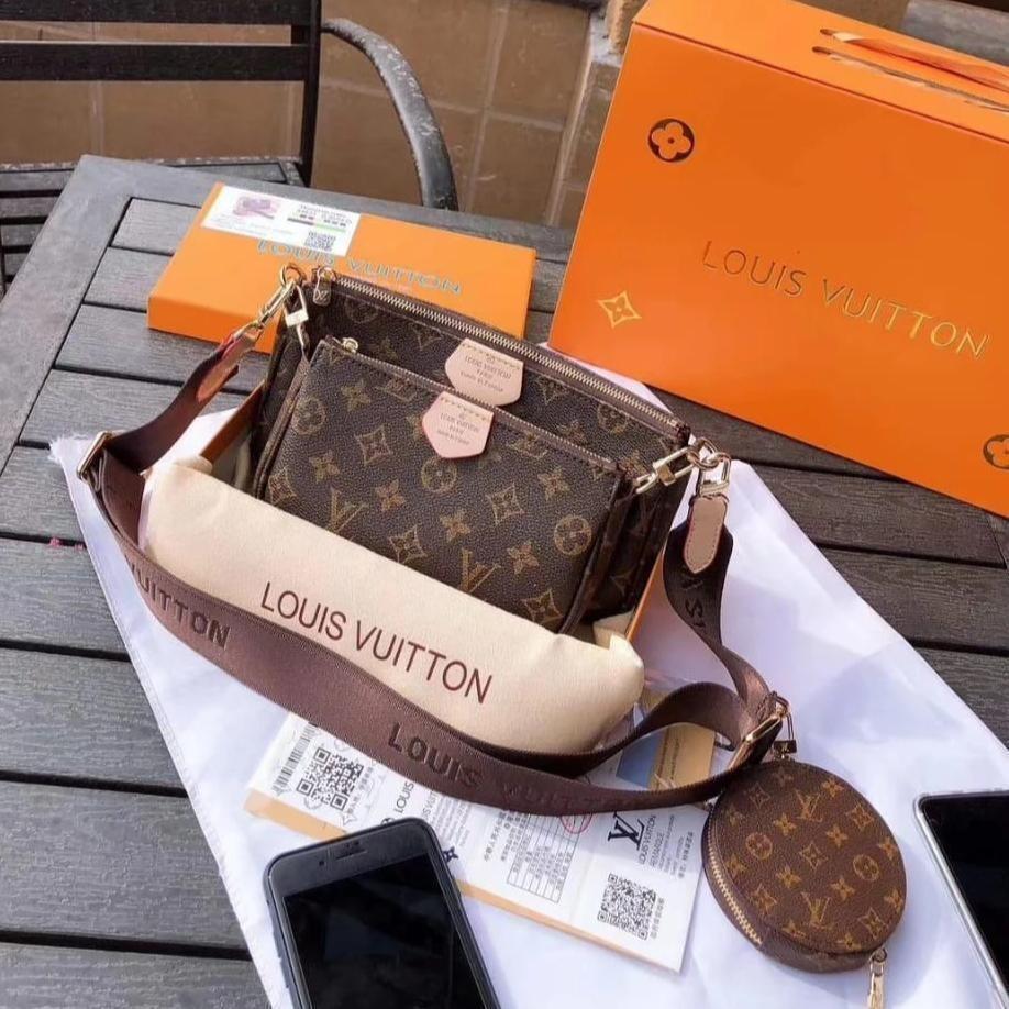 Louis Vuitton Mono Multi Pochette Accessories Coffee Belt Sling Bag (With Box)