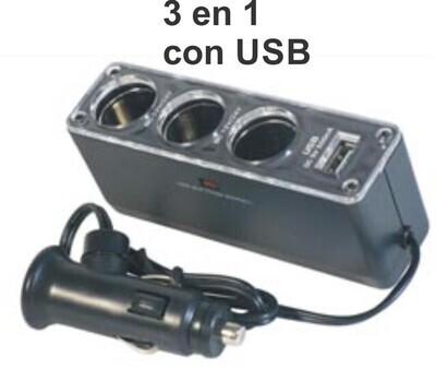 Adaptador Encendedor 3 En 1 Con Usb
