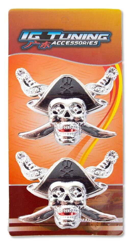 Emblema Calavera Sombrero Negro 2 Pcs