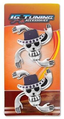 Emblema Calavera 4 Manos 2 Pcs