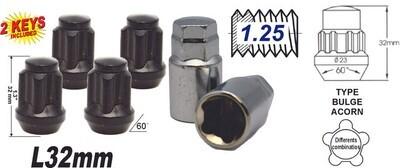 Acorn Mag L32 Seguro 12x1.25 6Pcs Negra