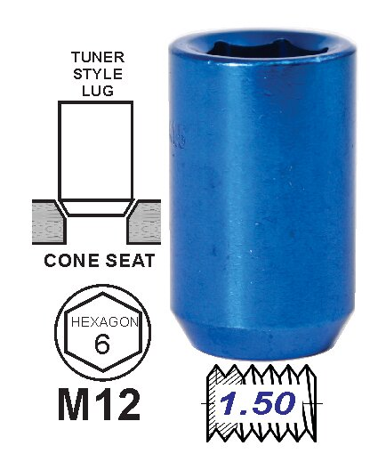 Tuerca Tunner Azul 35mm 12 x 1.5