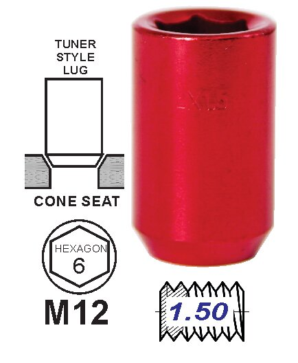 Tuerca Tunner Rojo 35mm 12 x 1.5