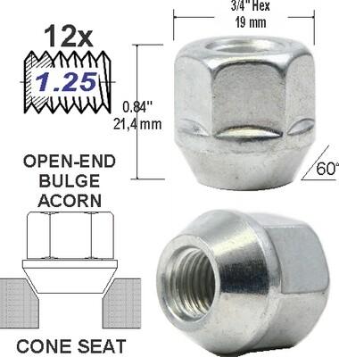 Tuerca Open-End Bulge 16mm 12x1.25
