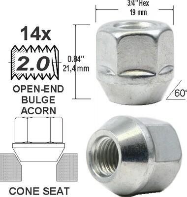 Tuerca Open-End Bulge 21mm 14x2.00