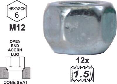 Tuerca Acorn open End 16mm 12x1.50