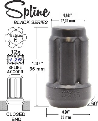 Tuerca Spline Acorn L35mm 12x1.25 6Sp Negro