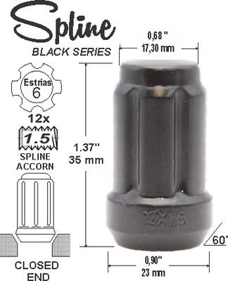 Tuerca Spline Acorn L35mm 12x1.50 6Sp Negro