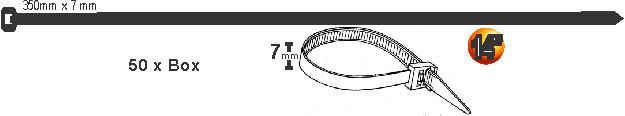 Tirras Plasticos Negros 7 x 350mm 100 pcs
