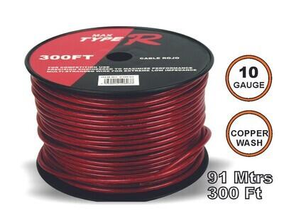 Cable Transparente 91 mtrs 10GA Rojo
