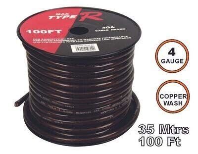 Cable Transparente 35 mtrs 4 GA Negro