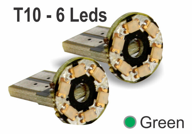 Muelitas 6 Led Desnudo Circular Verde