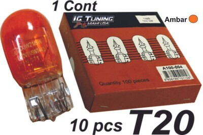 Bombillo T20 1 Cont Ambar 10 Pcs