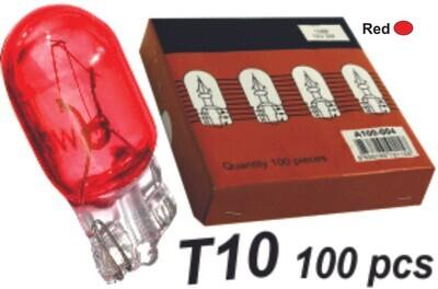Bombillo T10 Vidrio Rojo 100 Pcs