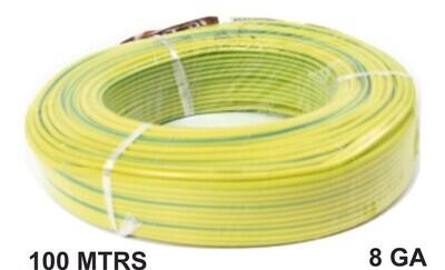 Cable 100 Mtrs Aluminio 8 Ga Amarillo Verde