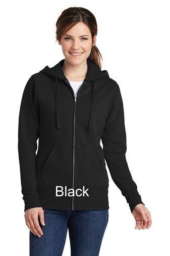 Ladies Fleece Full-Zip Hooded Sweatshirt - Black