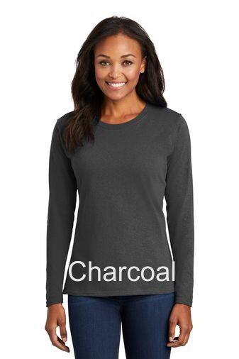 Ladies Long Sleeve Tee - Charcoal