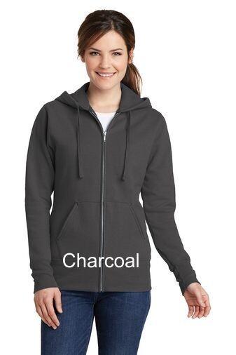 Ladies Fleece Full-Zip Hooded Sweatshirt - Charcoal
