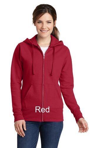 Ladies Fleece Full-Zip Hooded Sweatshirt - Red