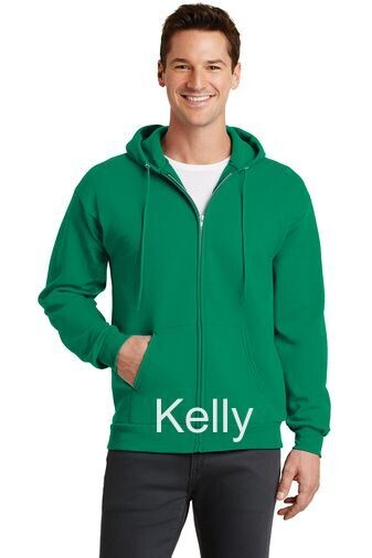Men's Fleece Full-Zip Hooded Sweatshirt - Kelly