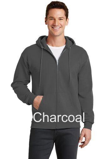 Men's Fleece Full-Zip Hooded Sweatshirt - Charcoal