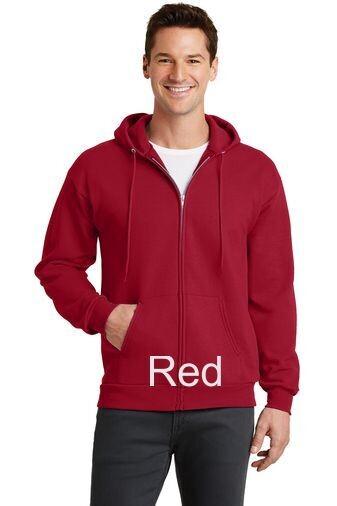 Men's Fleece Full-Zip Hooded Sweatshirt - Red