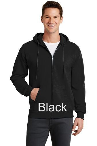 Men's Fleece Full-Zip Hooded Sweatshirt - Black