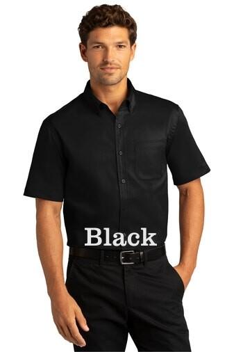 Men's Short Sleeve SuperPro React™Twill Shirt - Black