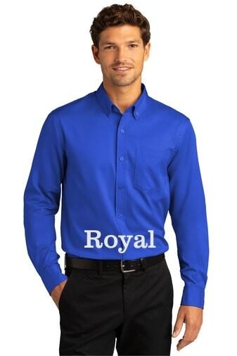Men's Long Sleeve SuperPro React™Twill Shirt - Royal Blue