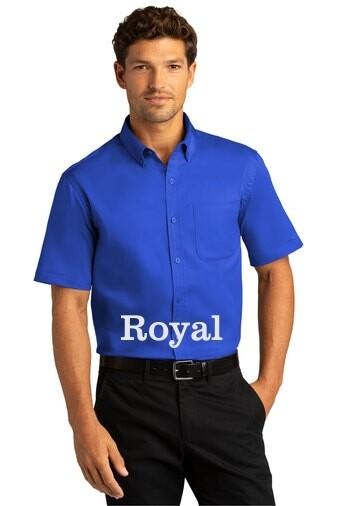Men's Short Sleeve SuperPro React™Twill Shirt - Royal Blue